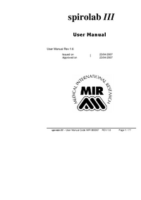 Manuel de l'utilisateur Mir spirolab III