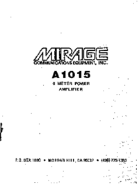 User Manual with schematics Mirage A1015