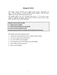 Обслуживание и Руководство пользователя Mirage B1018G