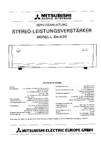 Instrukcja serwisowa Mitsubishi DA-A30