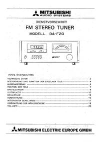 Instrukcja serwisowa Mitsubishi DA-F20