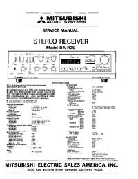 Instrukcja serwisowa Mitsubishi DA-R25
