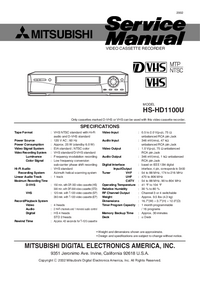 Service Manual Mitsubishi HS-HD1100U