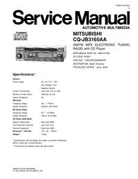 Serviceanleitung Mitsubishi CQ-JB3160AA
