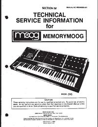 Manual de servicio Moog Memorymoog 345