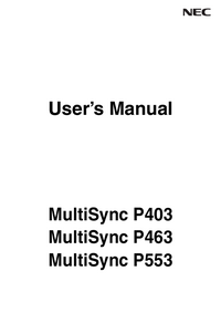 User Manual NEC MultiSync P463
