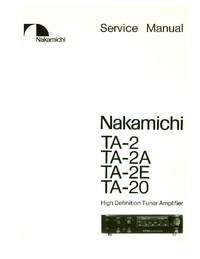 manuel de réparation Nakamichi TA-2