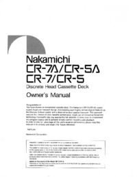 User Manual Nakamichi CR-5