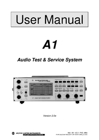 User Manual Neutrik A1