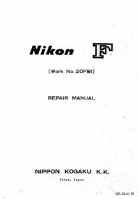 manuel de réparation Nikon F