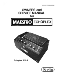 Service and User Manual Norlin Echoplex EP-3