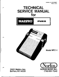 Руководство по техническому обслуживанию Norlin Fuzz MFZ-1