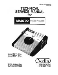 Руководство по техническому обслуживанию Norlin MPP-274A