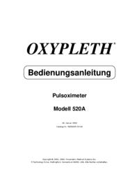 Manual del usuario Novametrix OXYPLETH® Modell 520A