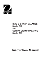 Руководство по техническому обслуживанию Ohaus DIAL-O-GRAM® BALANCE 310
