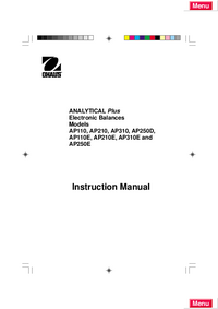 Service Manual Ohaus ANALYTICAL Plus AP110E