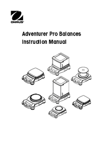 Servicio y Manual del usuario Ohaus Adventurer Pro