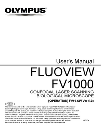 User Manual Olympus FLUOVIEW FV1000