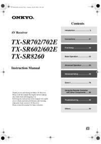 User Manual Onkyo TX-SR602