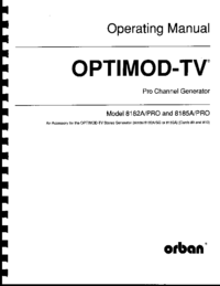 Service and User Manual Orban OPTIMOD-TV 8185A/PRO