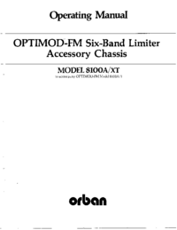 Servicio y Manual del usuario Orban OPTIMOD-FM 8100A/XT