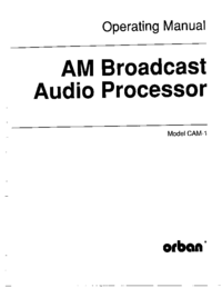 Service and User Manual Orban CAM-1
