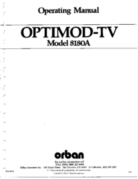 Serwis i User Manual Orban OPTIMOD-TV 8180A