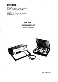 Manual de servicio Oritel MV 315