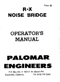 Manuale d'uso Palomar R-X NOISE BRIDGE