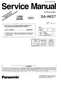 Suplemento Manual de servicio Panasonic SA-AK27