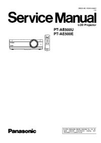 manuel de réparation Panasonic PT-AE500U