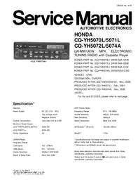 Service Manual Panasonic CQ-YH5070L