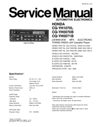 Service Manual Panasonic CQ-YH0071B