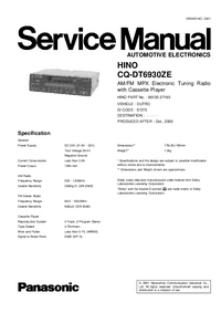 Service Manual Panasonic CQ-DT6930ZE