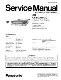 manuel de réparation Panasonic CY-BG2911ZC