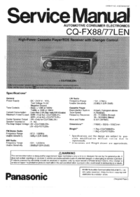 Service Manual Panasonic CQ-FX77LN