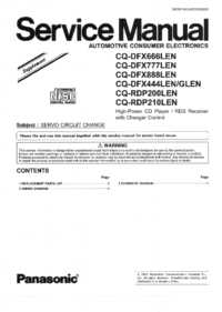 Service Manual Supplement Panasonic CQ-RDP210LEN