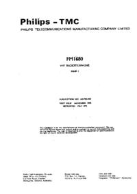 Руководство по техническому обслуживанию Philips FM 1680