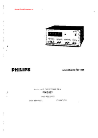 User Manual Philips PM 2421