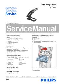 manuel de réparation Philips BG2040