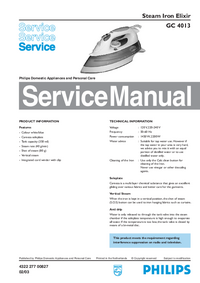 Service Manual Philips Elixir GC 4013