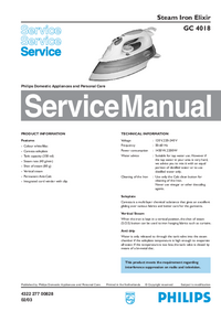 Service Manual Philips Elixir GC 4018