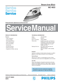 Service Manual Philips Elixir GC 4023