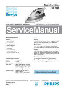 Service Manual Philips Elixir GC 4025