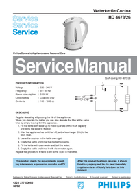 Service Manual Philips Cucina HD 4673/26