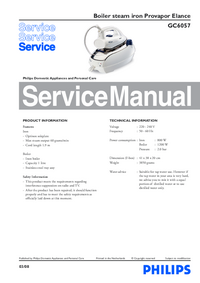 Manual de servicio Philips Provapor Elance GC6057