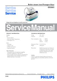 Instrukcja serwisowa Philips Provapor Azur GC6063