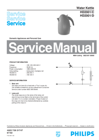 Service Manual Philips HD2001/D