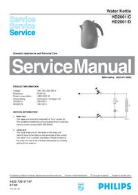 Instrukcja serwisowa Philips HD2001/C