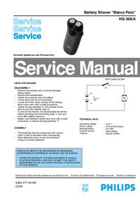 Руководство по техническому обслуживанию Philips Marco Polo HQ 304/A